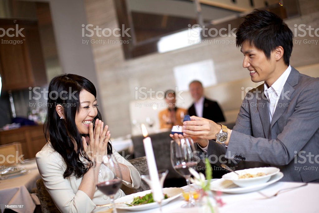 Japanese Male Proposing royalty-free stock photo