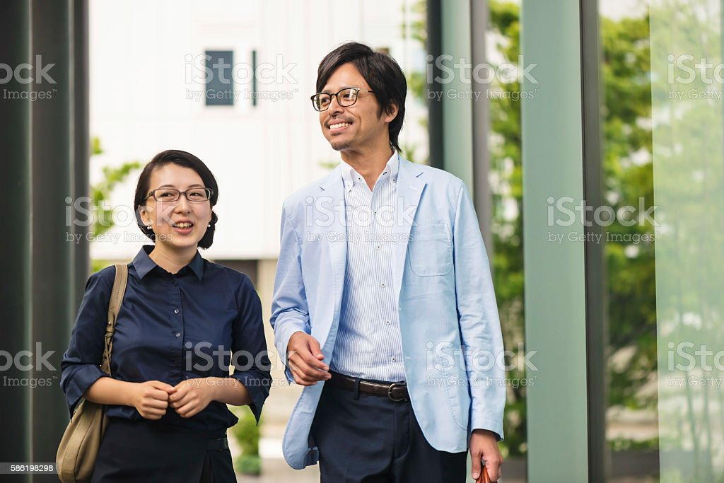Japanese man and woman stock photo
