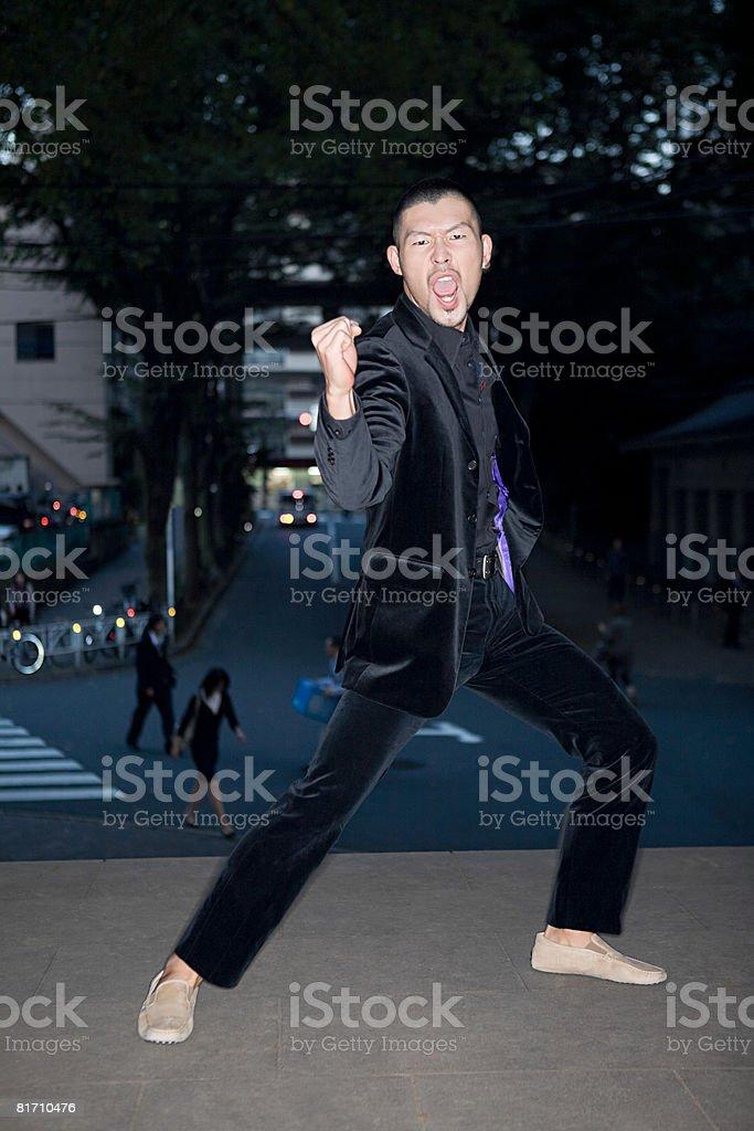 Japanese man celebrating royalty-free stock photo