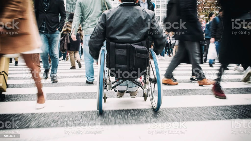 Japanese Man in Wheelchair stock photo