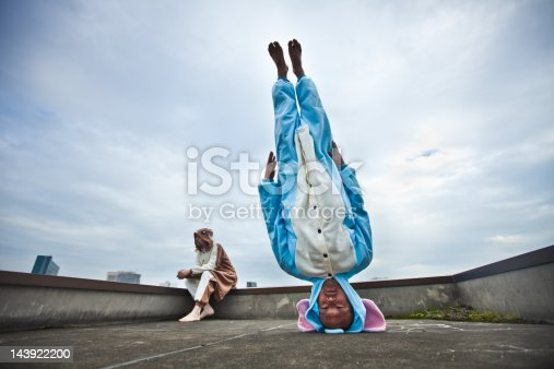 Japanese Man Standing On His Head In Elephant Costume Stock Photo & More Pictures of 20-29 Years