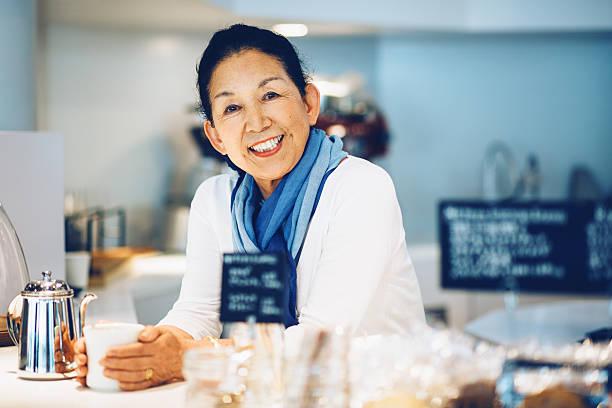 Gerente de la tienda de café japonés - foto de stock