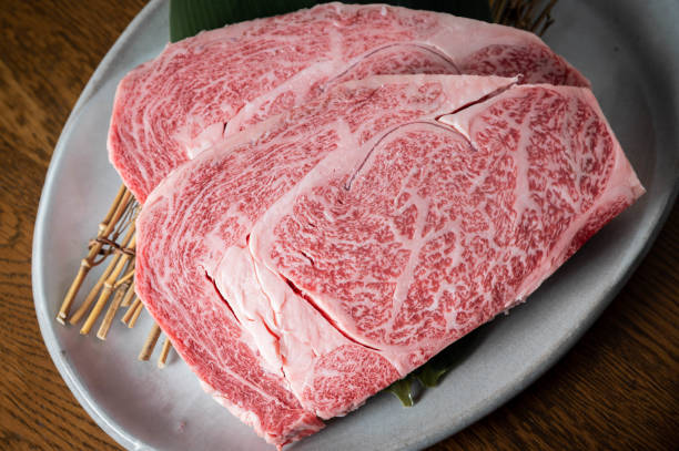 japanese marbled fatty wagyu ribeye beef stock photo