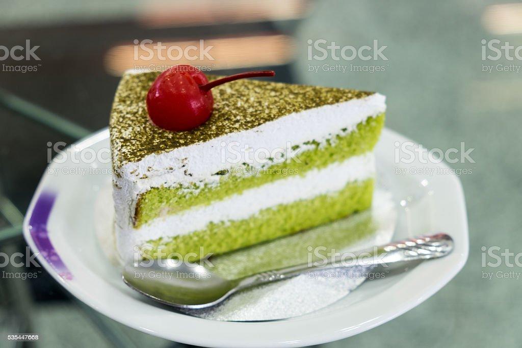 Japanische Matcha Grunem Tee Und Kuchen Tee Und Kuchen Stock