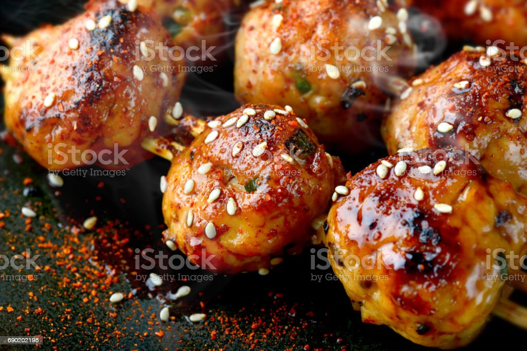 japanese meatball grill  tsukune. stock photo