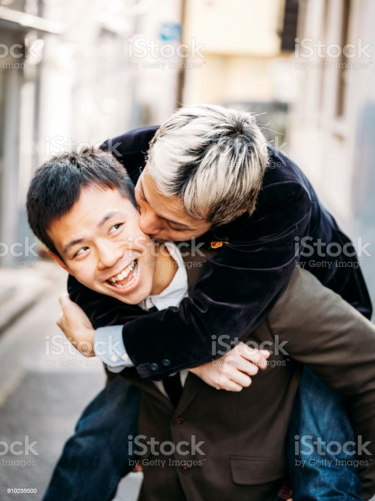 Japanese Men Gay Couple stock photo