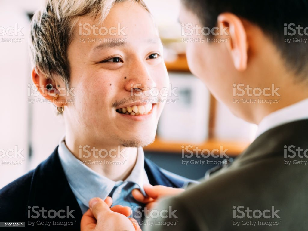 Japanese Men Gay Couple stock photo