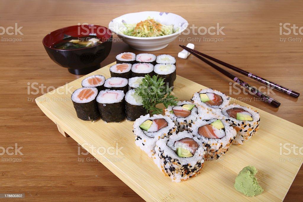 Japanese menu sushi salad and soup royalty-free stock photo