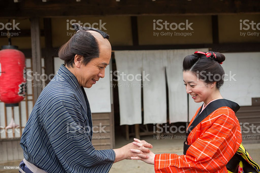japanese merchant and housewife in toei studio oldtown kyoto japan stock photo