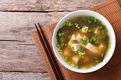 Japanese miso soup in a white bowl horizontal top view