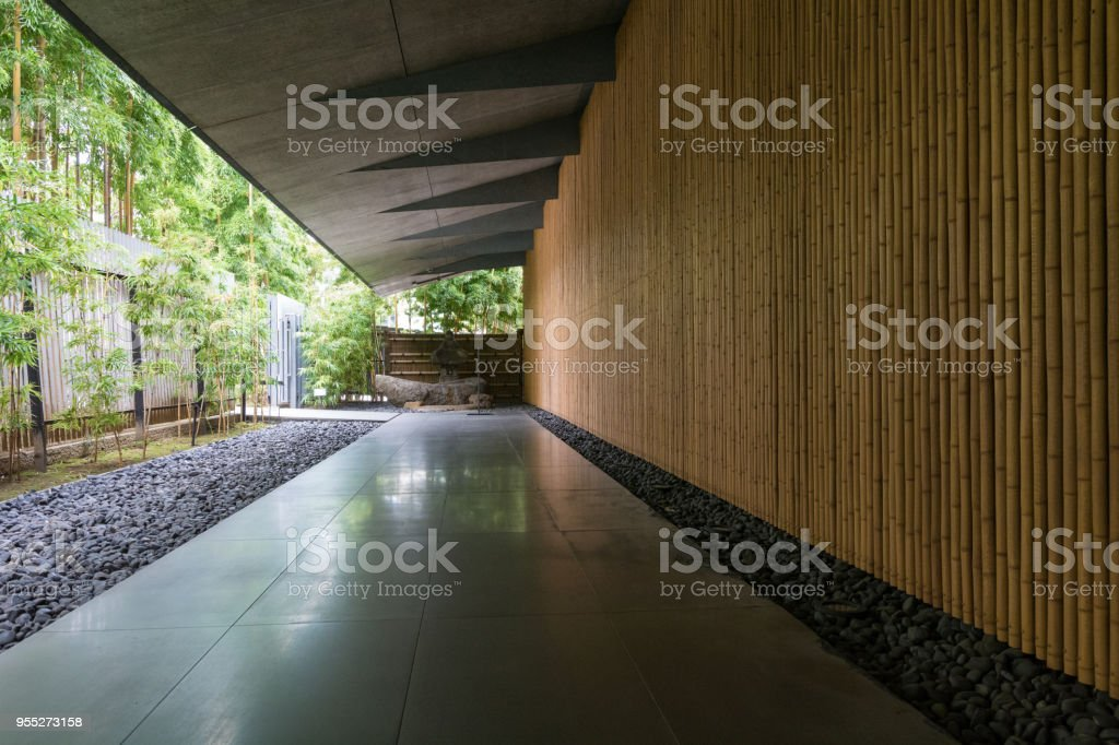 Japanese modern building and court stock photo