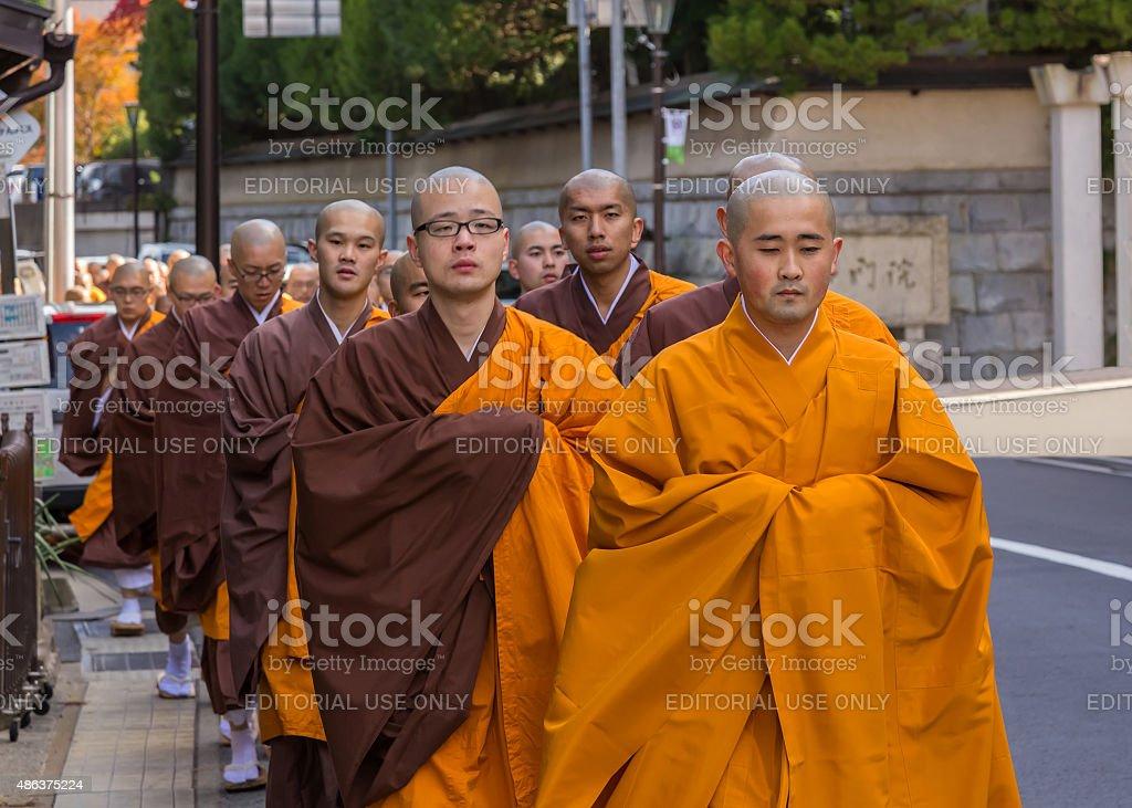 Japanese Monk  in Koyasan (Mt. Koya), Wakayama, Japan stock photo