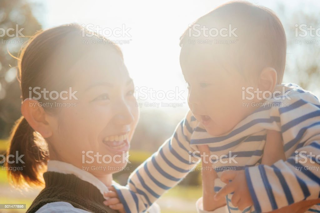 Japanese Mother and Child in the Park stock photo
