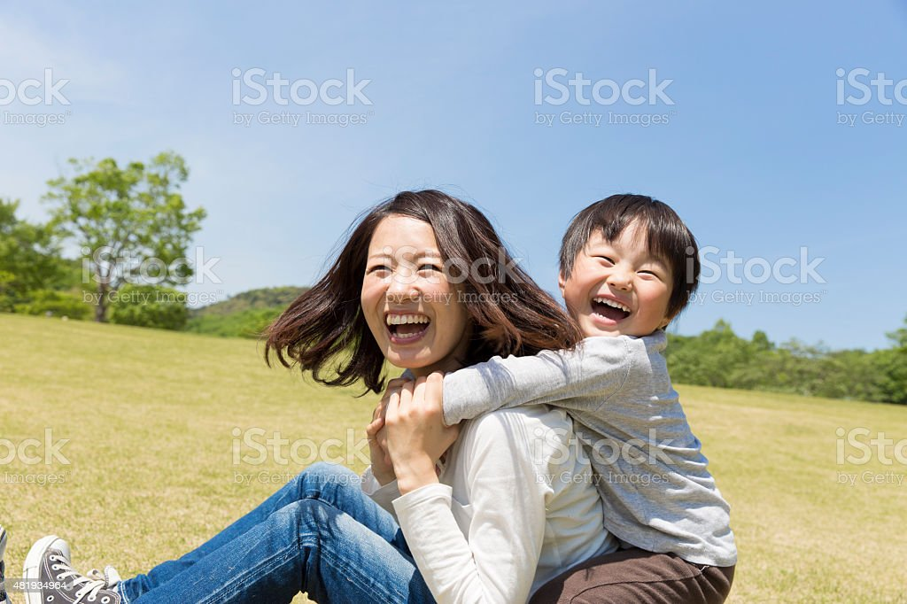 Japanese mãe e criança foto royalty-free