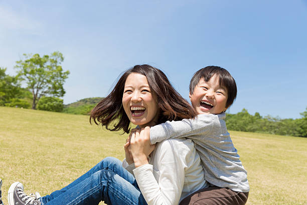Japanese mother and child stock photo