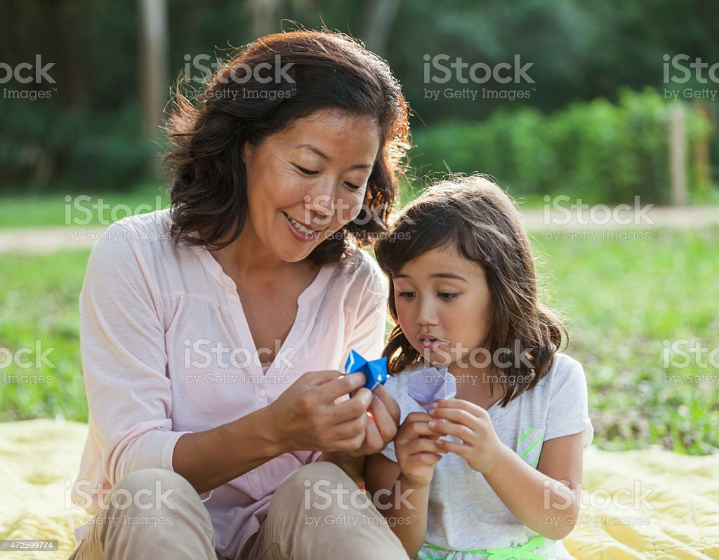 Japanese mother and daughter stock photo