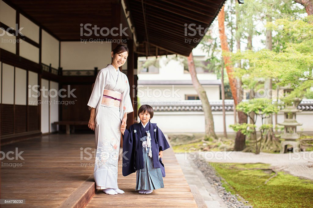 Japanese Mother and Son at the Temple Celebrating Shichigosan stock photo