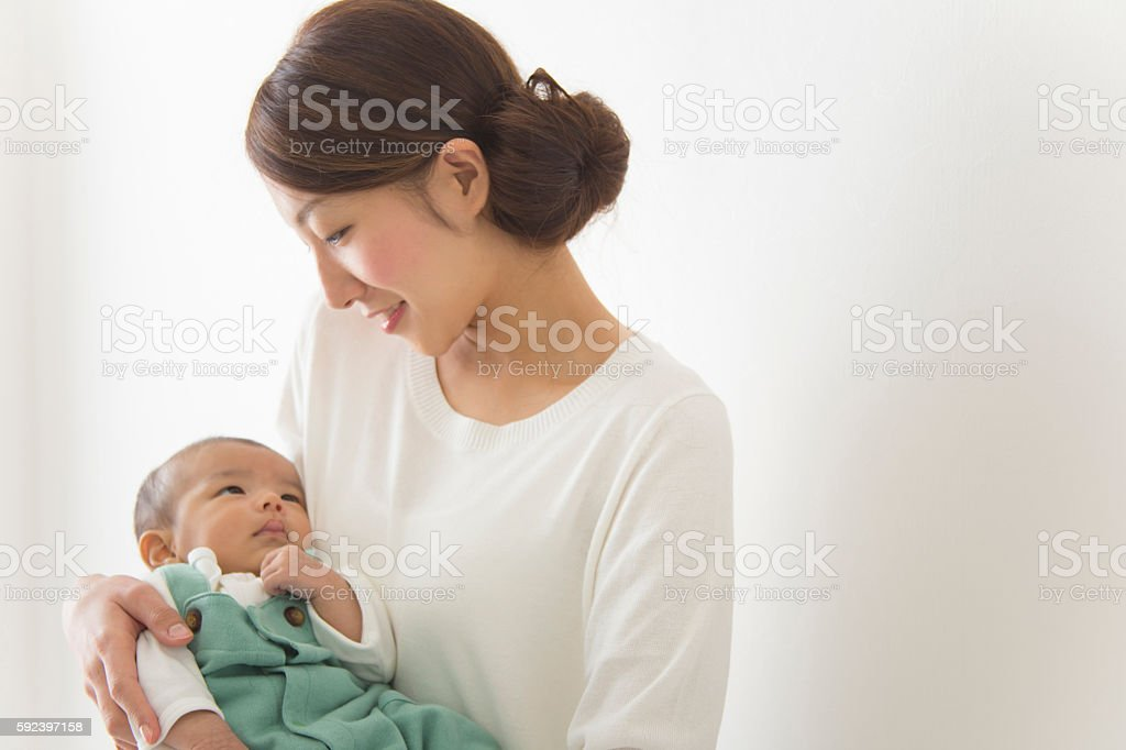 Japanese mother with child stock photo