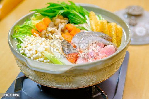 A close up of an authentic Nabe hot pot dinner in a Japanese home.