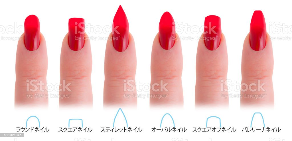 Japanese Nail Salon Shapes Roundsquarestiletto Almond Squared Oval ...