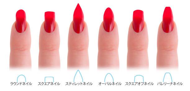 japanische nagel salon formen: rund, quadrat, stiletto, mandel, squared oval und ballerina - nails stiletto stock-fotos und bilder