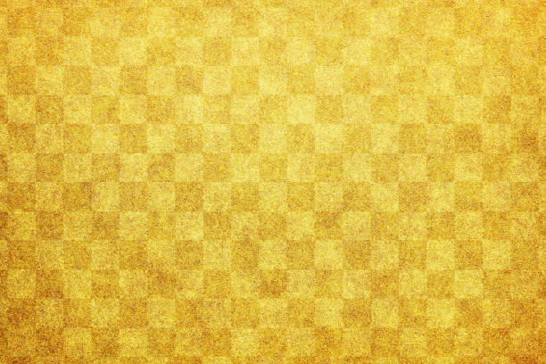 japanese new year gold checkered pattern paper texture background - japanese culture stock pictures, royalty-free photos & images