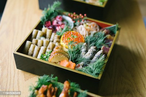 Close up shot of traditional Japanese New Year's day food.