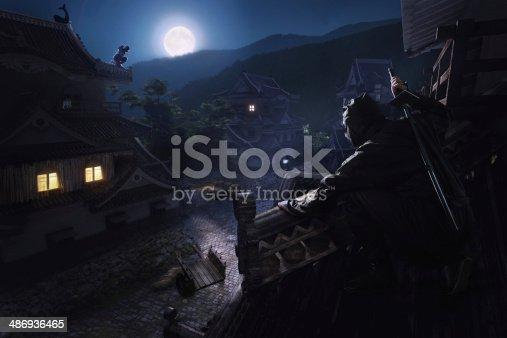 istock Japanese Ninja Samurai on the roof of the castle 486936465
