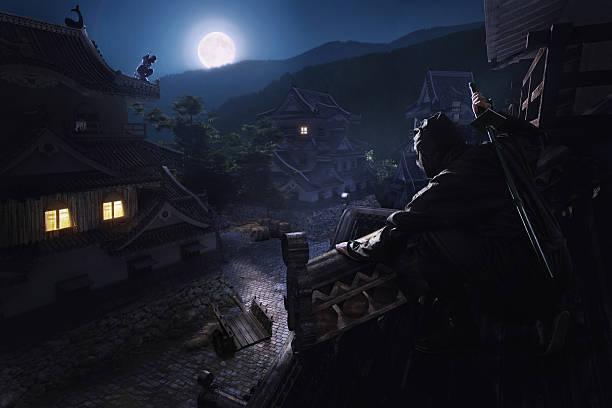 japonés ninja de samurai en el último piso de the castle - ninja fotografías e imágenes de stock