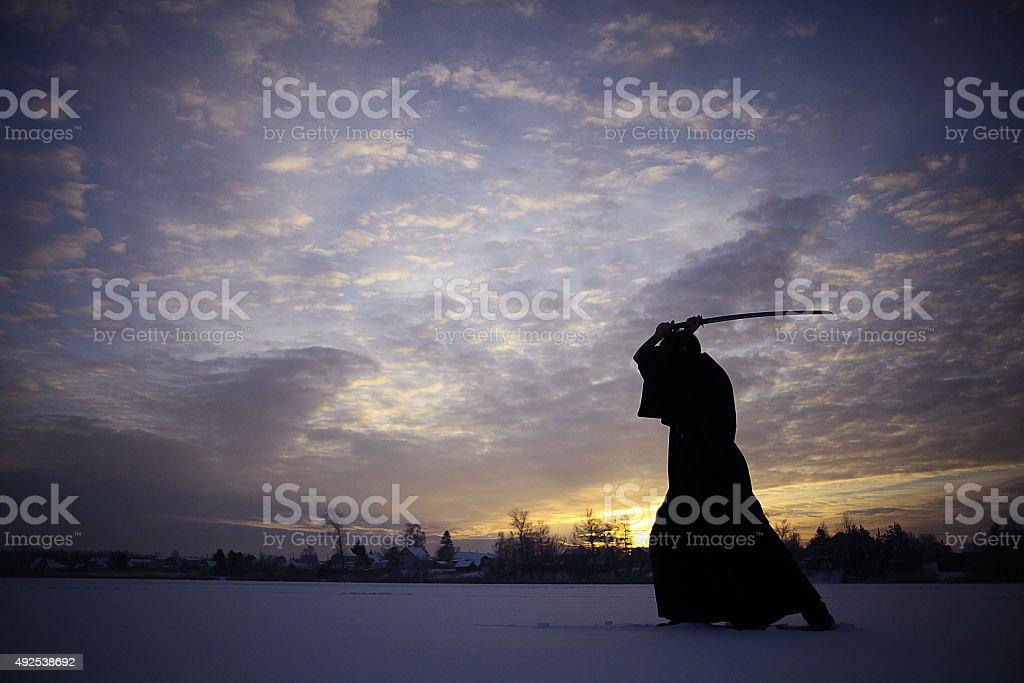 Japanese ninja winter portrait stock photo