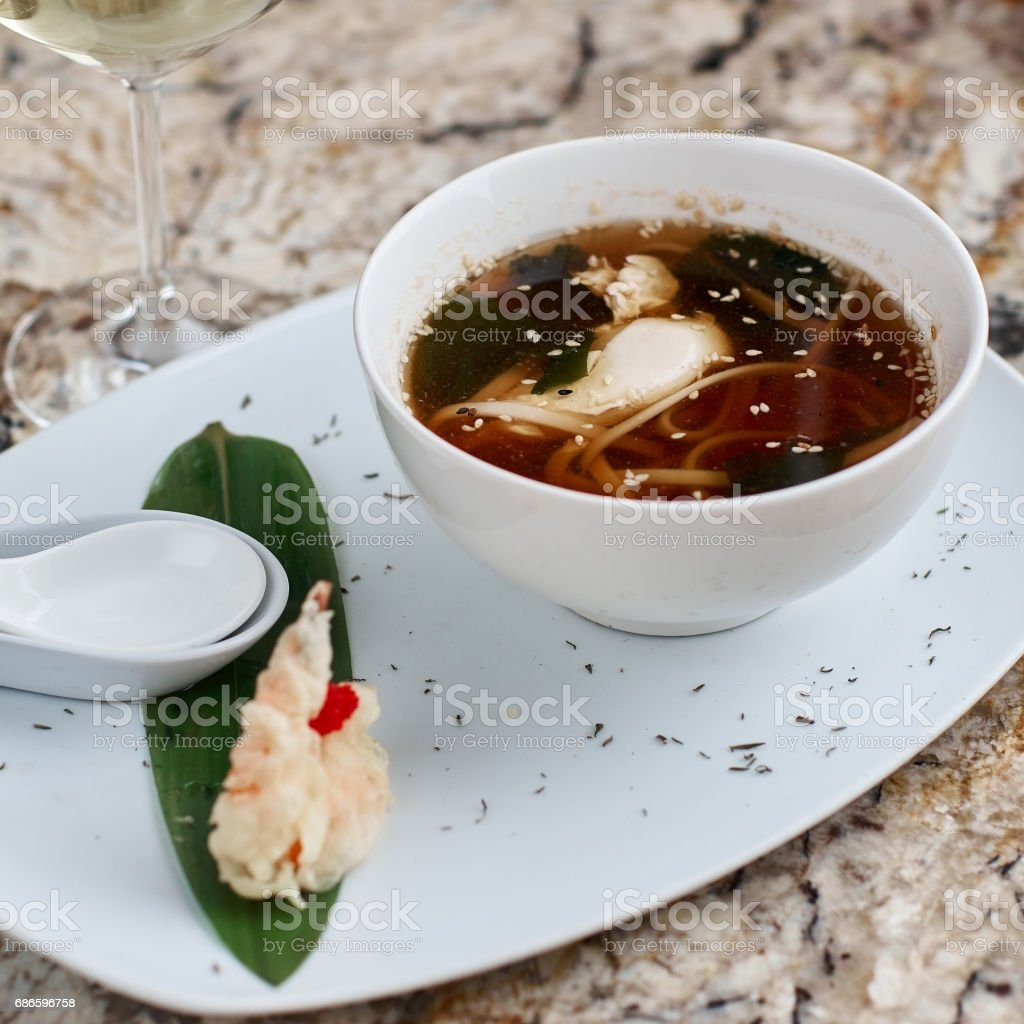 Japanese noodle soup udon in bowl royalty-free stock photo