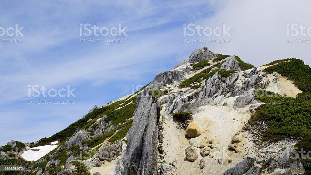 Japanese North Alps. Tsubakurodake crest whole view - foto de stock