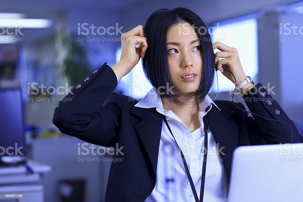 Japanese office lady - getting ready for the day stock photo