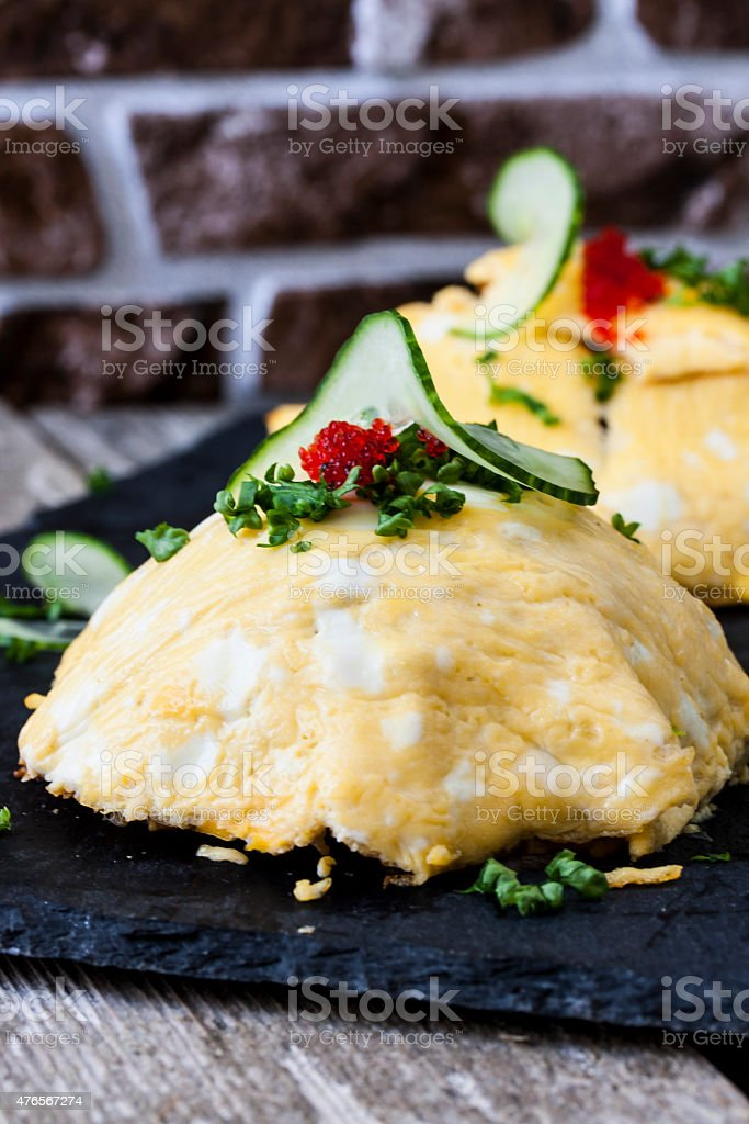 Japanese omelet with rice and chicken stock photo