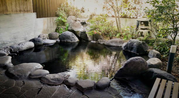 japanese onsen - hot spring stock photos and pictures
