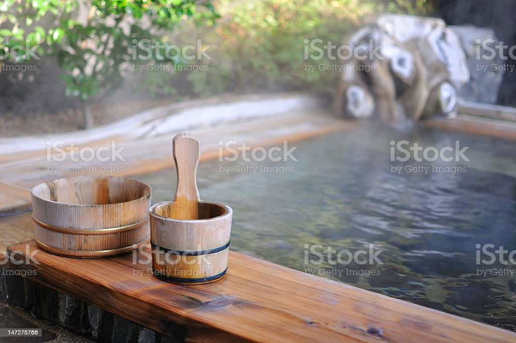 Japanese open air hot spa stock photo