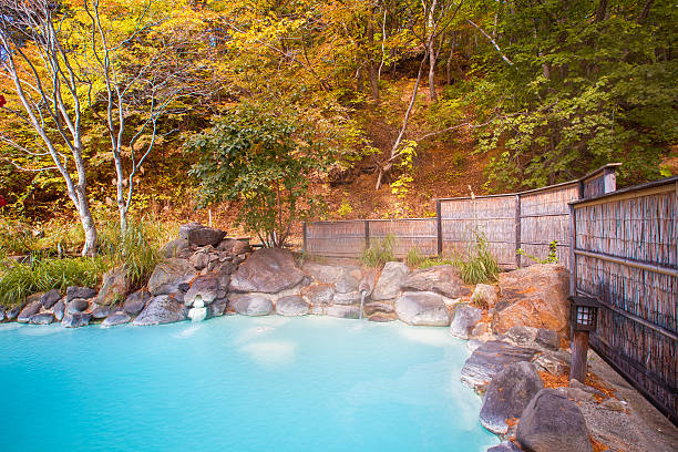 japanese open air hot spring (onsen) - hot spring stock photos and pictures