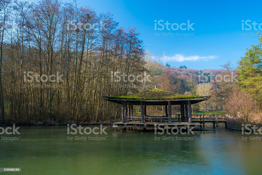 Japanese pagoda on the lake stock photo