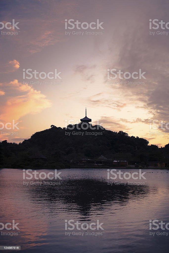 Japanese Pagoda Reflection royalty-free stock photo