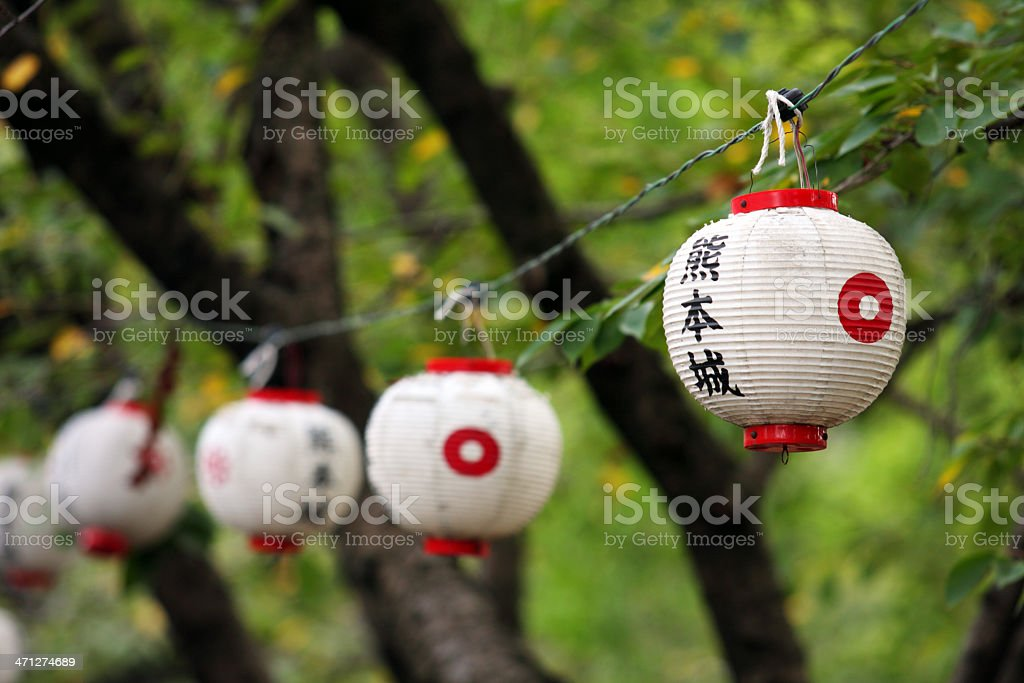 Japanese paper lantern against tree stock photo