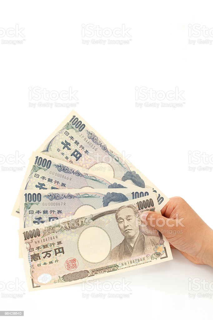 Japanese paper money royalty-free stock photo