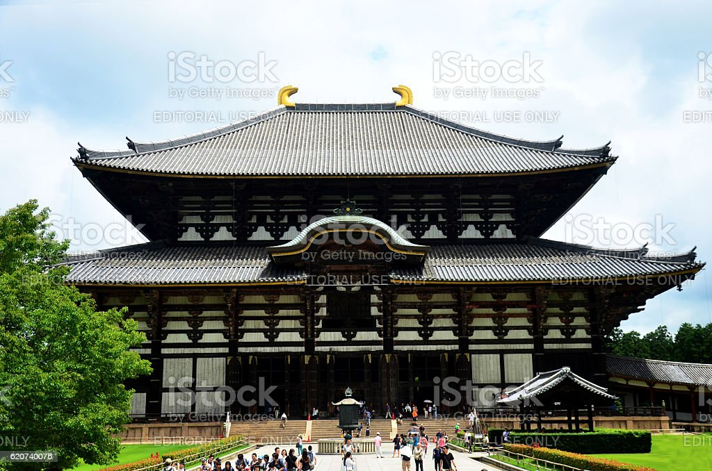 Japanese people and traveler foreigner walking at Todai-ji Temple stock photo