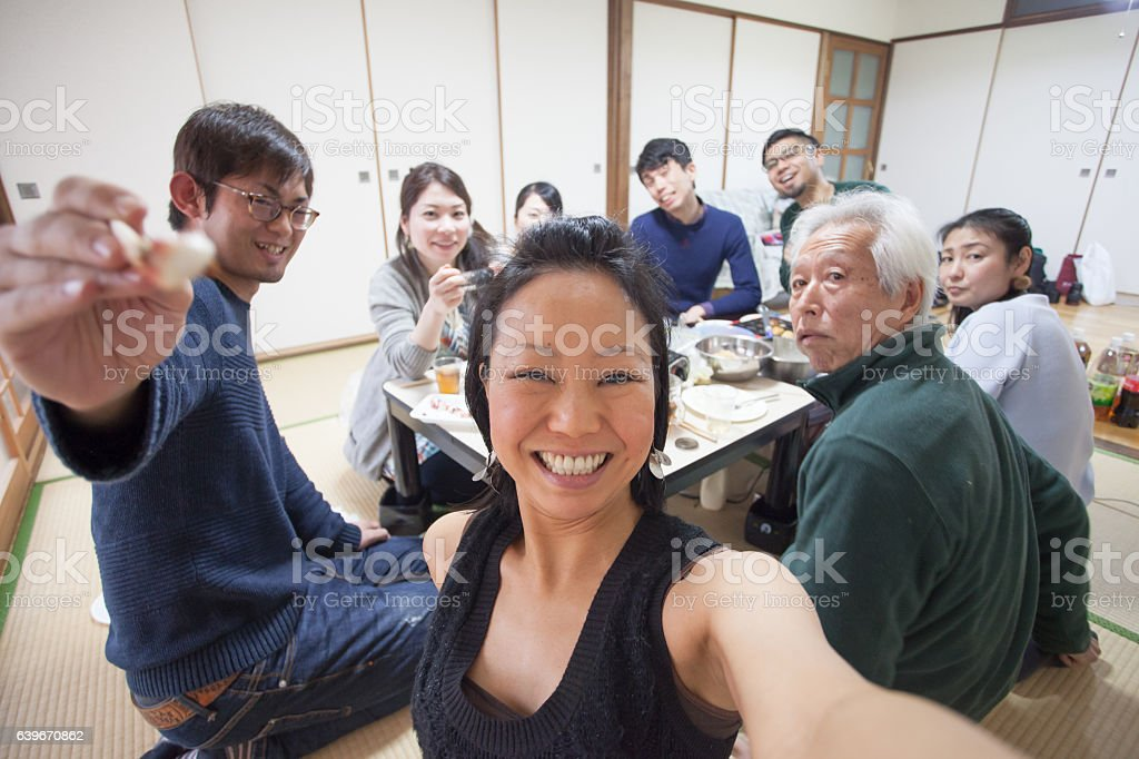 Japanese people group selfie at meal stock photo
