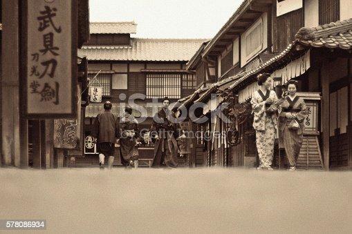 istock Japanese People Walking in Edo Period 578086934