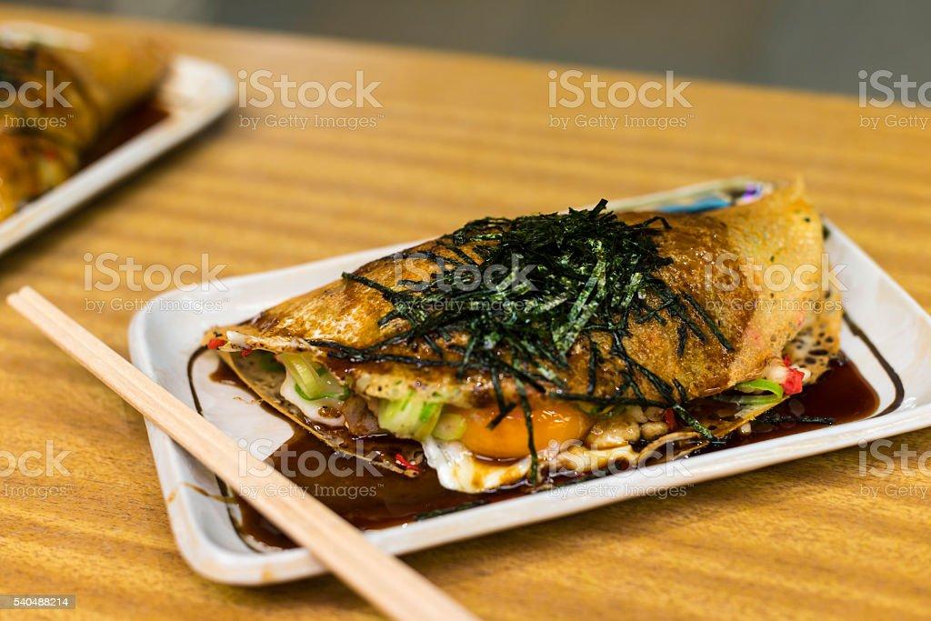 Japanese Pizza Okonomiyaki, Kyoto style stock photo