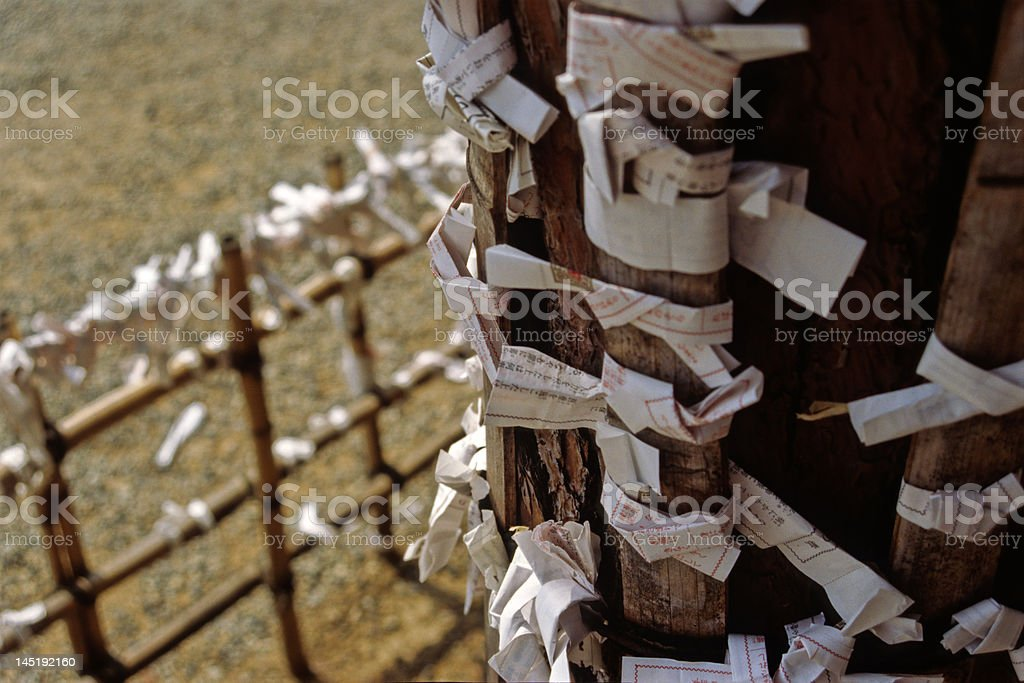 Japanese prayer notes royalty-free stock photo
