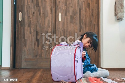 Asian girl and Japanese traditional school bag
