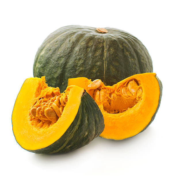 Japanese pumpkin kabocha on a white background stock photo