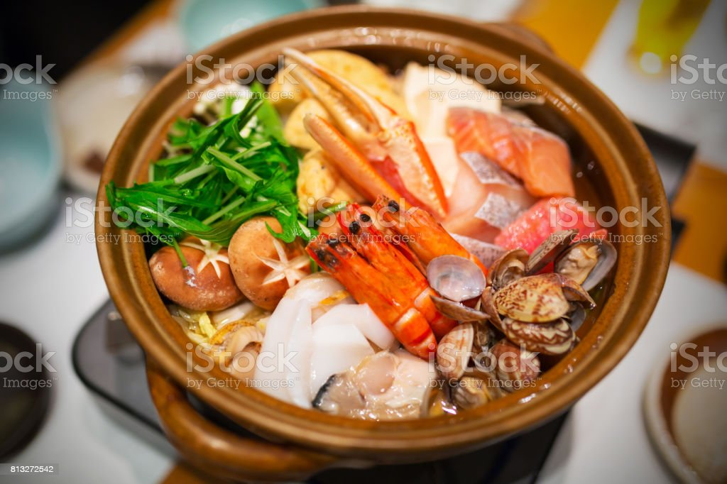 Japanese raw seafood soup stock photo