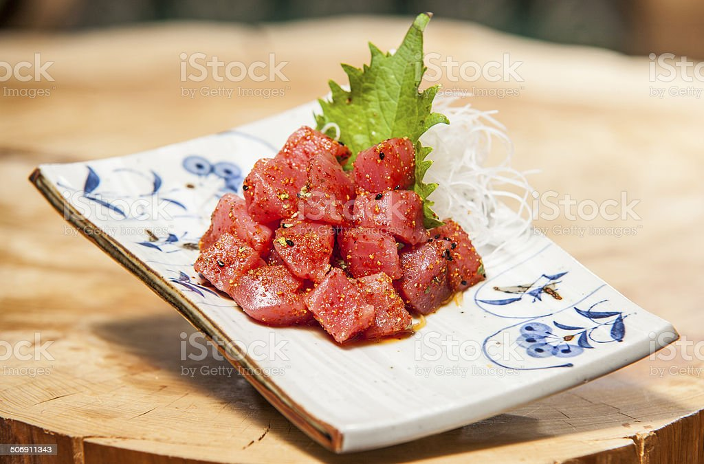 Japanese Raw Tuna Appetizer royalty-free stock photo